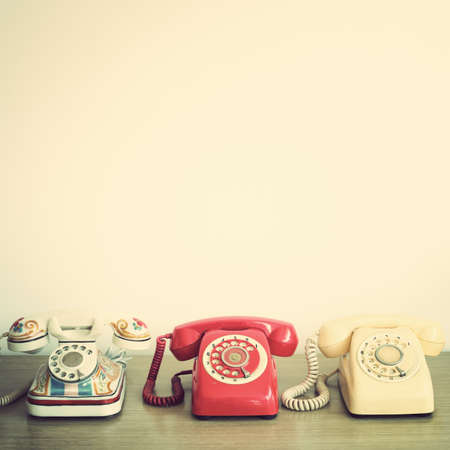 Photo pour Three vintage telephones - image libre de droit