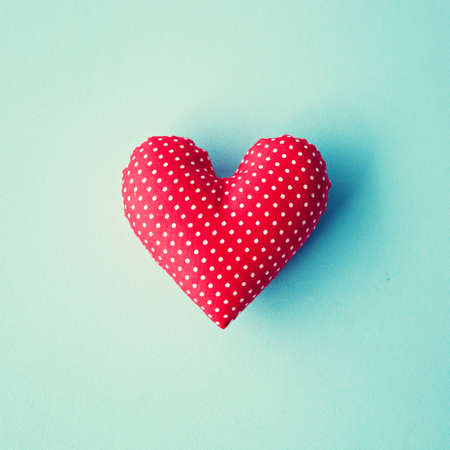 Red cotton stuffed heart