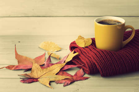 Coffee cup over a red scarf and autumn leafs