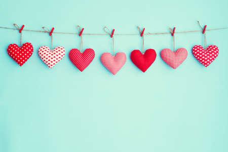 Hanging stuffed hearts