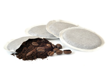 Coffee pods on white Backgrounds.