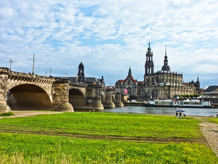 Panorama of Dresden from river bank of Elba