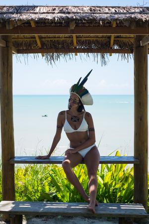 Beautiful young indigenous Pataxo woman in Bahia, Brazil