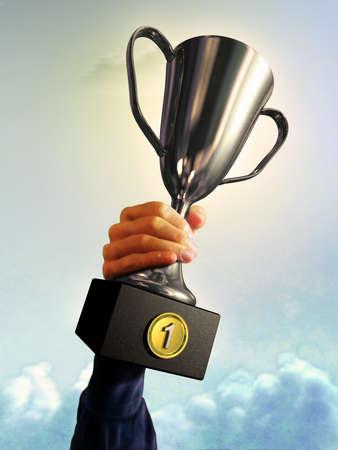 Male hand holding a trophy. Digital illustration.