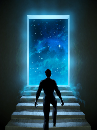 Photo for Man climbing a staircase leading to a door over the universe. Digital illustration. - Royalty Free Image