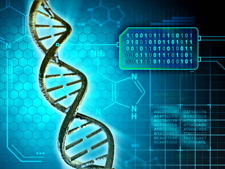 Photo for Dna structure converted into binary code. Digital illustration. - Royalty Free Image