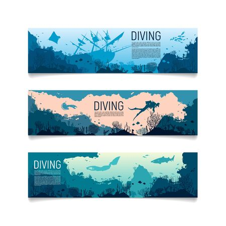 Illustration pour Underwater horizontal banners. Horizontal banners with scenes presents ocean, sea animals, sunken ship, diving. Colorful low polygon banner set. Island in the ocean and underwater world with different - image libre de droit