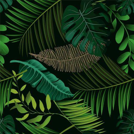 Illustration pour Bright tropical background with jungle plants. Vector exotic pattern with palm leaves. - image libre de droit