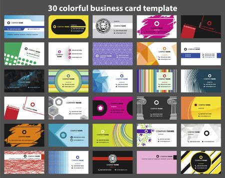 Illustration for 30 colorful business card template - Royalty Free Image