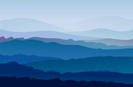Illustration pour Background with mountains in the fog. Vector - image libre de droit