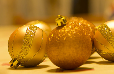 Christmas decoration, gold color on table