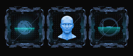 Illustration pour Concept of face scanning. Accurate facial recognition biometric technology and artificial intelligence concept. Face detection HUD interface. Vector illustration. - image libre de droit