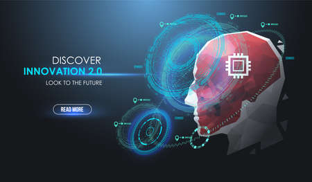 AI, future concept with futuristic HUD elements. Face Recognition. Cyber artificial intelligence, Robot face. Virtual assistant HUD user display technology.