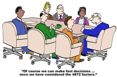 Illustration pour Cartoon of businessman saying he can make fast decisions after he has reviewed all 4000 issues. - image libre de droit