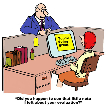 Cartoon of businessman giving excellent feedback to assistant.