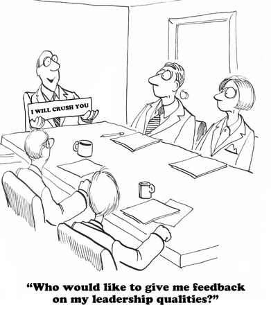 Photo pour Business cartoon about a leader who does not want feedback. - image libre de droit