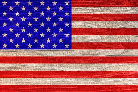Photo pour American flag with wood texture - image libre de droit