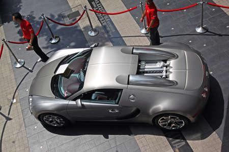 Top view of Bugatti Veyron sport car