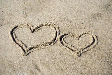 Two Heart shape on beach - love concept