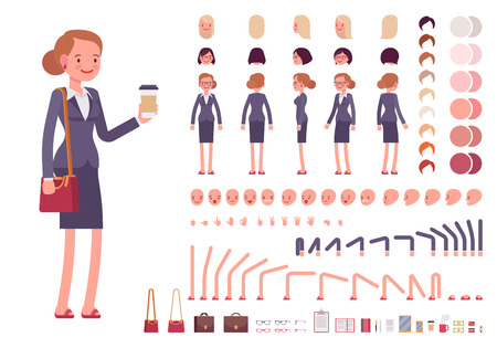 Illustration for Businesswoman character creation set. Build your own design. Cartoon vector flat-style infographic illustration - Royalty Free Image
