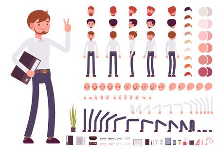 Ilustración de Male clerk character creation set. Build your own design. Cartoon vector flat-style infographic illustration - Imagen libre de derechos