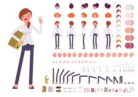 Ilustración de Female clerk character creation set. Build your own design. Cartoon vector flat-style infographic illustration - Imagen libre de derechos