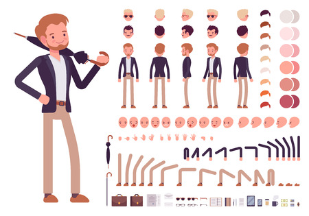 Illustration pour Smart casual male character creation set. Build your own design. Cartoon vector flat-style infographic illustration - image libre de droit