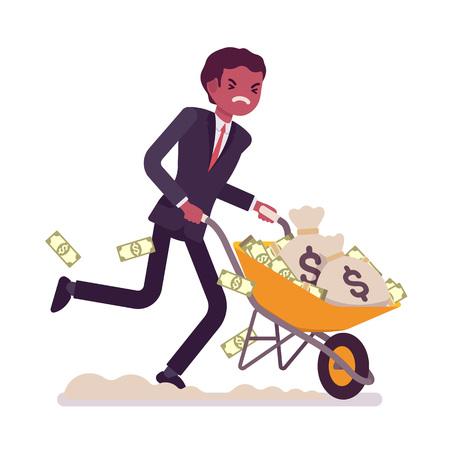 Illustration for Businessman pushing a wheelbarrow full of money. Cartoon vector flat-style concept illustration - Royalty Free Image