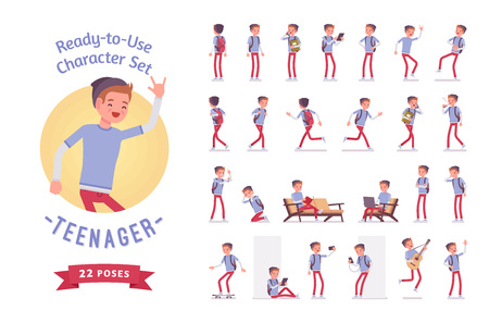 Illustration pour Ready-to-use teenager boy character set, various poses and emotions - image libre de droit