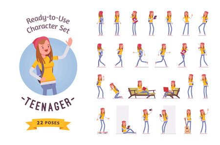 Illustration pour Ready-to-use teenager girl character set, various poses and emotions - image libre de droit