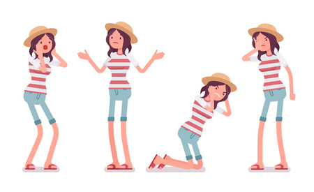 Illustration pour Young unhappy woman wearing leisure summer fit, trendy stripe print, beach shoes, feeling bad, puzzled, confused, negative emotions. Vector flat style cartoon illustration, isolated, white background - image libre de droit