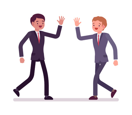 Businessmen happy greeting. Partners in formal wear friendly meeting each other, coworkers, effective team. Office etiquette concept. Vector flat style cartoon illustration, isolated, white background