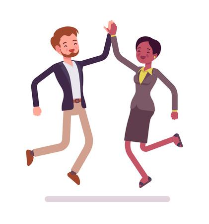 Ilustración de Businessman and businesswoman highfive jumping - Imagen libre de derechos