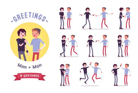 Illustration pour Teens greeting character set, various poses and emotions - image libre de droit