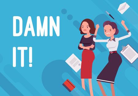 Illustration pour Damn it! Business demotivation poster on blue background. - image libre de droit