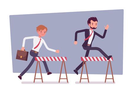 Businessmen running over obstacles