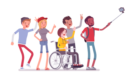 Ilustración de Group selfie and young people. Self-portrait photograph taken with phone stick camera, girl with special needs and friends, Inclusion. Vector flat style cartoon illustration isolated, white background - Imagen libre de derechos