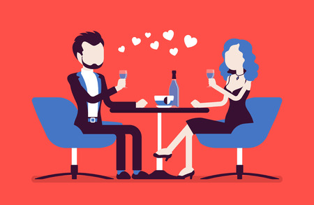Illustration pour Couple on a romantic date. Young man and woman, pair in love having dinner, meeting of two close loving people in romantic relationships in cafe. Vector illustration with faceless characters - image libre de droit
