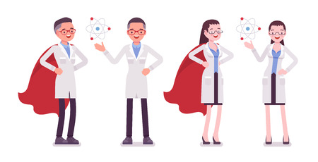 Ilustración de Male and female scientist with symbols - Imagen libre de derechos