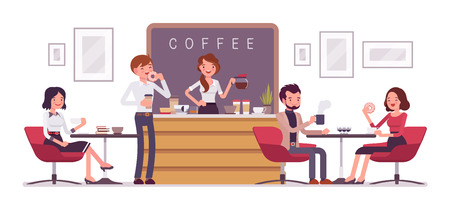Illustration pour Cafe shop and people relaxing. Modern place interior to meet, drink and eat, chat, have a rest, enjoy free time, barista girl makes and serves coffee for public. Vector flat style cartoon illustration - image libre de droit