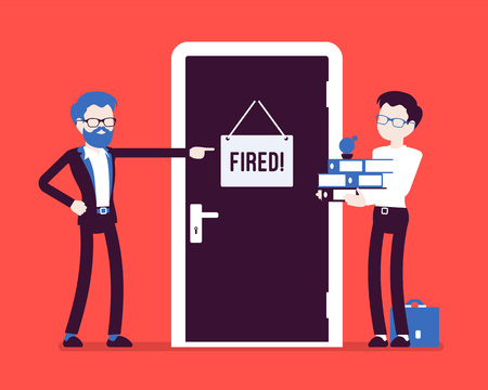 Illustration pour A fired office worker and boss. - image libre de droit