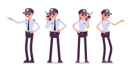 Ilustración de Male and female security guard. Uniformed officer, agent with portable radio. Public and private city safety concept. Vector flat style cartoon illustration, isolated on white background, front, rear - Imagen libre de derechos