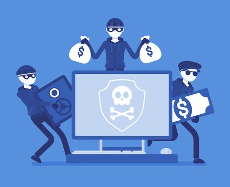 Electronic theft danger  Masked men in black stealing money