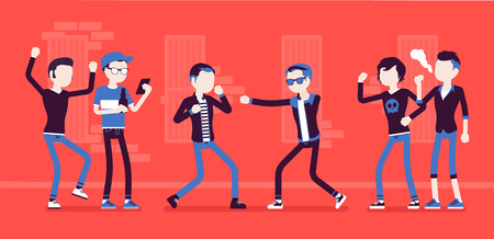 Young men take part in a violent street struggle, group of guys watching boxing contest between angry boys, aggressive hand-to-hand combat in public. Vector illustration, faceless charactersの素材 [FY310109805002]