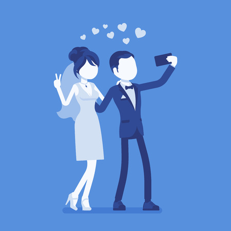 Illustration pour Newlywed taking selfie by phone. Just married happy young man and woman on wedding day ceremony make a photograph with a smartphone or webcam by themselves. Vector illustration, faceless characters - image libre de droit
