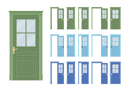Doors classic set, wooden half glass, entrance to a building, room. Home, office design project idea. Vector flat style cartoon illustration isolated on white background, different views, open, closed