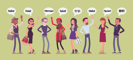 Foto de Hello greeting in languages and group of diverse people. Friendly men and women from different countries saying hi, giving a polite word of recognition and hand sign of welcome. Vector illustration - Imagen libre de derechos