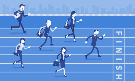 Illustration pour Businessmen running at business competition. Rivalry race between companies or managers, workers in motivational contest, employees establishing superiority. Vector illustration, faceless characters - image libre de droit