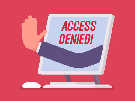 Illustration pour Access denied sign on monoblock screen. Hand from device showing user does not have permission to file, system refuses password and entry to computer data, error with red signal. Vector illustration - image libre de droit