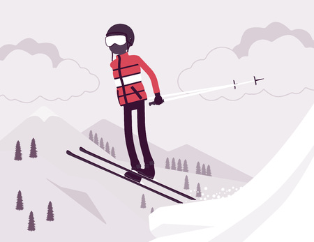 Active sporty man skiing, jumping enjoys winter outdoor fun on resort with beautiful snowy nature, mountain view, professional wintertime tourism, recreation. Vector illustration, faceless characters